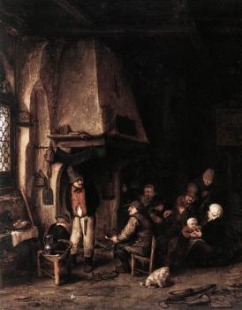 Adriaen Jansz Van Ostade : Interior of a Farmhouse with Skaters